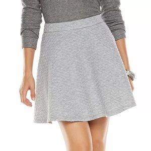Lauren Conrad Soft Gray Quilted Mini Flare Skirt | Women's XL